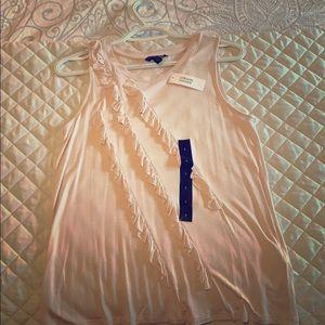 Light pink sleeveless cotton top